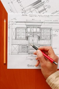 Interior design drawings of kitchen