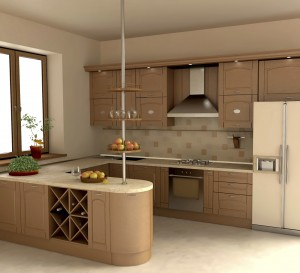 Kitchen interior with wooden furniture